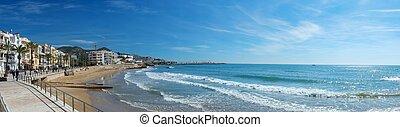 Beautiful Sitges town panorama