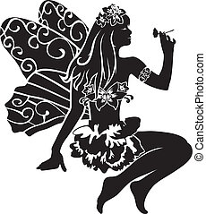 beautiful sitting fairy with flower. stencil