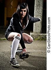 Beautiful skater teen girl - A shot of a beautiful skater ...