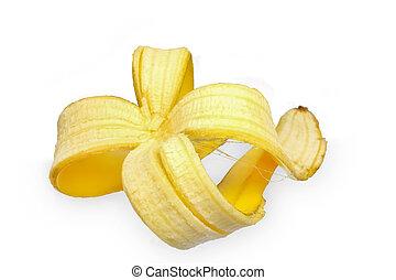 beautiful skin of a banana on white background