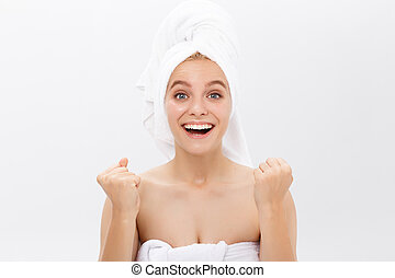 Beautiful skin woman face closeup healthy and beautiful female spa and cosmetic concept