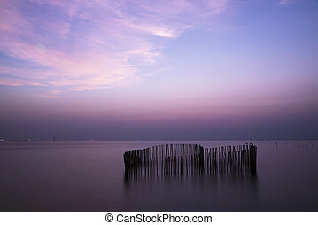 Beautiful sky after sunset in the sea
