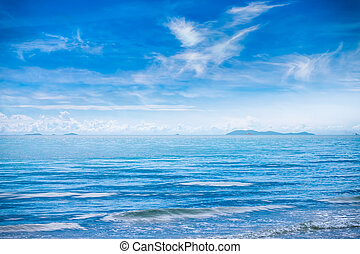 Beautiful sky and blue sea in summer