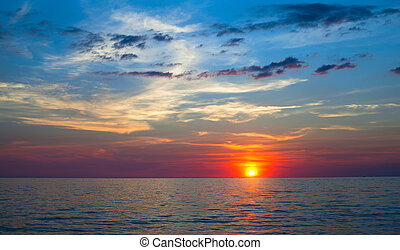 Beautiful sky and sunset at the Sea