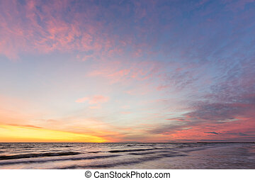 Beautiful sky at sunset on the sea shore, Black sea, Anapa, Russia
