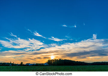 beautiful sky at sunset over the village