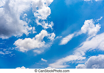 Beautiful sky background of white clouds on blue sky