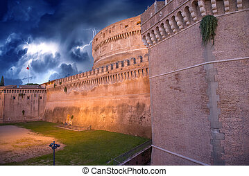 Beautiful sky colors over Castel Santangelo in Rome