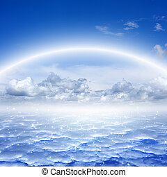 Peaceful background - rainbow and stars in blue sky, heaven