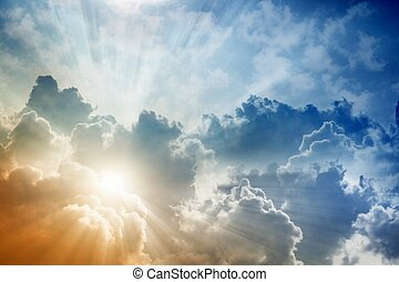 Beautiful sky - Light from above, bright sun, blue sky and ...