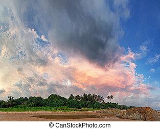 Beautiful sky over the tropical ocean coast