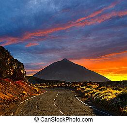 Beautiful sky over the Volcano El Teide in Tenerife, Canary...
