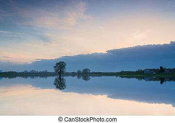 beautiful sky reflected in lake,