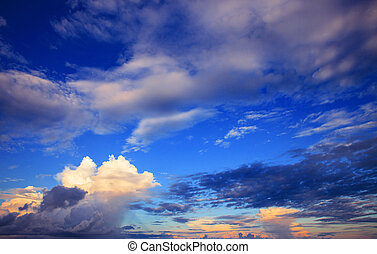 beautiful sky scape of clouds in rainy season with morning light
