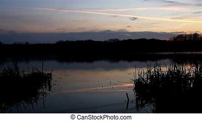 beautiful sky sunset river silhouette nature landscape