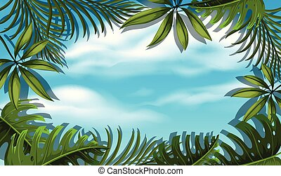 Beautiful Sky Template with Tree Leaf