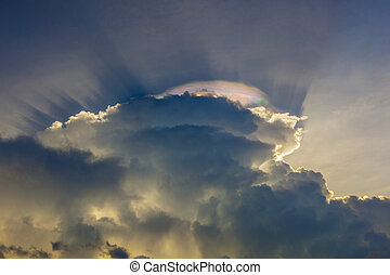 sky with clouds and colorful prisma light reflections - ...