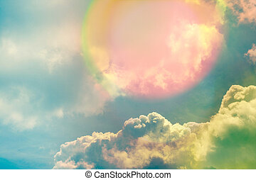 Beautiful sky with clouds and sunlight, natural background