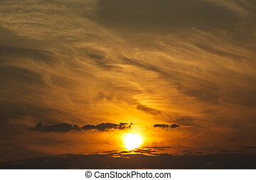 Beautiful sky with clouds at sunset or sunrise