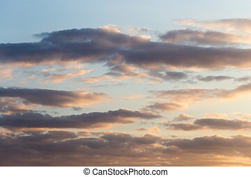 beautiful sky with clouds at sunset