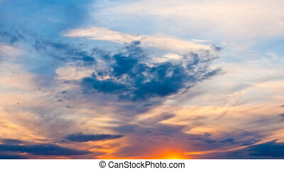 Beautiful sky with clouds on a suns