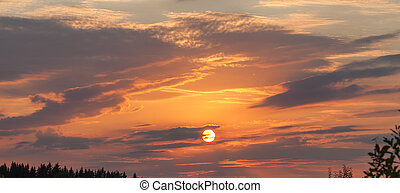 Beautiful sky with clouds on the sunset