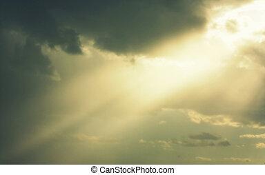 Beautiful sky with rays of sun