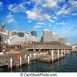 Beautiful skyline of Sydney with city skyscrapers