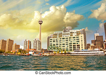 Beautiful skyline of Toronto from Lake Ontario - Canada
