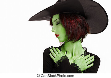 Beautiful sleeping witch with green skin on white...
