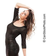 Beautiful slender brunette. - Portrait of beautiful slender...