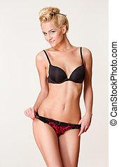 Beautiful slender lingerie model.