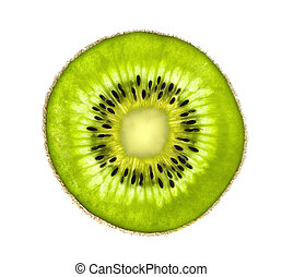 Beautiful slice of fresh juicy kiwi isolated on white background