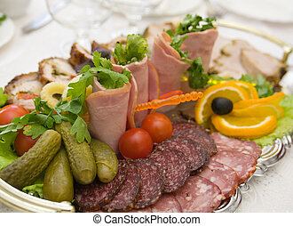 sliced food arrangement with some vegetables - Beautiful ...