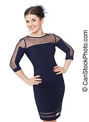 beautiful slim brunette woman wearing blue dress