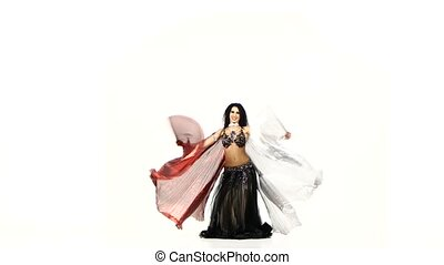 Beautiful slim exotic belly dancer girl with two wings and...