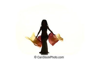 Beautiful slim exotic belly dancer with two long fans and shaking her hips, on white, silhouette, shadow