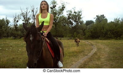 beautiful slim girl rides on horseback