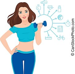 Beautiful slim girl - Stock vector illustration slim healthy...