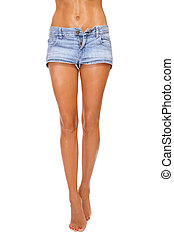 Beautiful slim legs - Long beautiful tanned slim legs of...