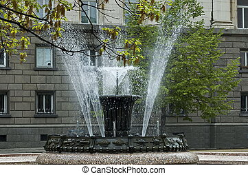 Beautiful small fountain water in front of the presidency in  the city center