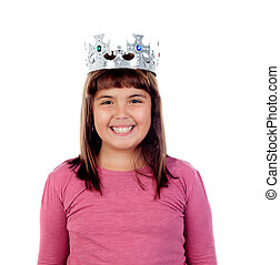 Beautiful small girl with a crown of princess