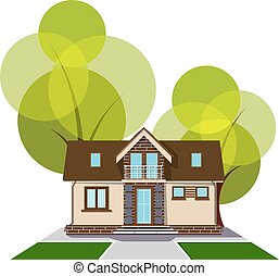 Beautiful small house with a loft, balcony and trees in the background. Building with an