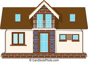 Beautiful small house with a loft, balcony. Building with an...