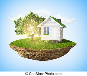 Beautiful small island with grass and tree and house levitating
