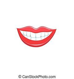 Beautiful smile lips isolated on white background. Vector...