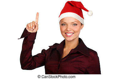 Beautiful smile woman in a Santa Cap. Isolated over white background