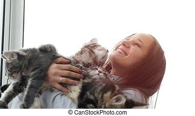 Beautiful smiles brunette girl holding cute kittens