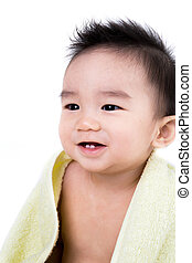 Beautiful smiling asian cute baby