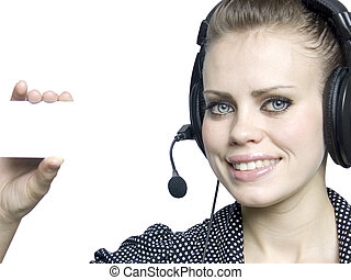 smiling attractive young girl  with a headset
